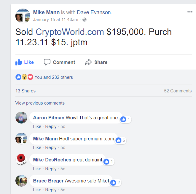 Mike Mann sold cryptoworld .com for 195000 USD on 2018 January 15