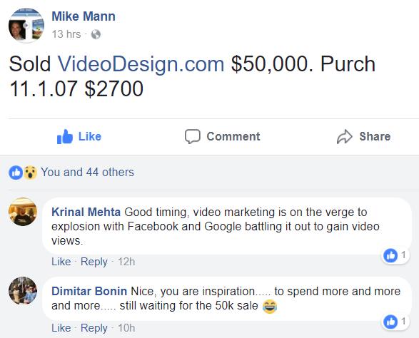 Mike Mann Sold VideoDesign.com $50,000