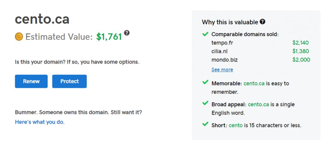 GoDaddy cento.ca domain name valuation $1761